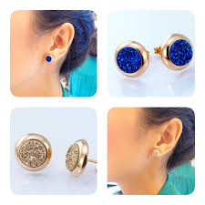 druzy stud earrings gold druzy earrings stud earrings geode earrings drusy stud