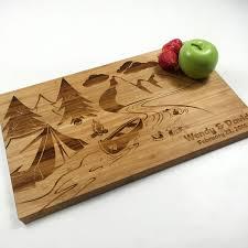 engraved cutting board wedding gift rustic cutting board personalized wedding gift board canoe cing