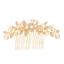 pearl hair comb gold tone vintage floral pearl hair comb s
