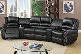 home theater sectional sofa set amazon com 5pcs black bonded leather reclining sofa set home