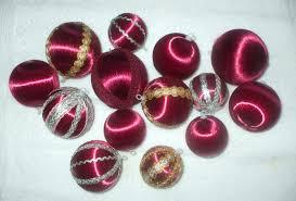 14 burgundy vintage christmas ornaments satin balls some with