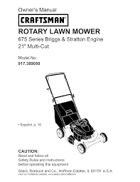 Crafstman by Craftsman Lawn Mower 38905 User Guide Manualsonline Com
