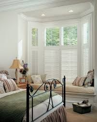Blinds For Bow Windows Decorating Decoration Ideas Exciting White Wooden Side Table And White