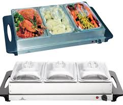 2 x 300w stainless steel 3 pan buffet server warming tray food
