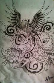 asian phoenix and flowers tattoo sketch photo 1 photo