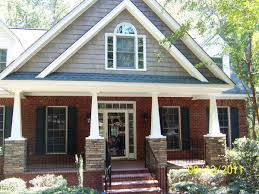 exterior fancy image of front porch decoration using dark brown