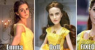emma watson looks like somebody fixed the emma watson belle doll so it doesn t look like