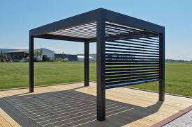 Metal Pergola With Canopy by Self Supporting Pergola Metal With Mobile Slats Open By Xo