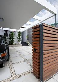 House Designs Ideas Modern Wooden Gate And The Modern Carport For The Moder House Design