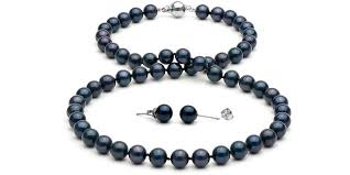 pearl necklace earring images Black akoya pearl necklace and earrings 7 0 7 5mm jpg