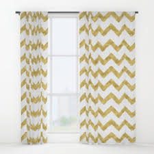 Gold And White Curtains Zigzag Window Curtains Society6