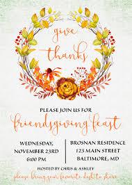 friendsgiving invitation friendsgiving potluck give thanks