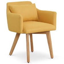 chaises fauteuil chaise fauteuil scandinave gybson tissu jaune
