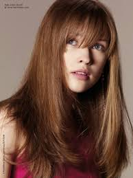 long hairstyles long angled and fluffy haircut with bangs over the