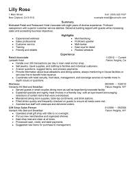 Hotel Resume Examples Unforgettable Retail And Restaurant Associate Resume Examples To