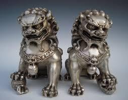 foo dogs for sale antique silver guardian lion foo fu dog door guard statue a