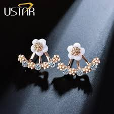 stud earrings for women ustar flower crystals stud earrings for women gold color