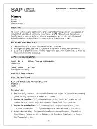 Sap Hana Resume Sample Fresher Resume Of Sap Fi Certified Sap Se Accounting