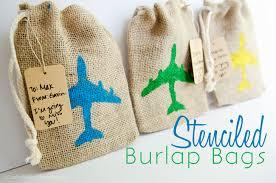 burlap gift bags craftaholics anonymous easy stenciled burlap bags