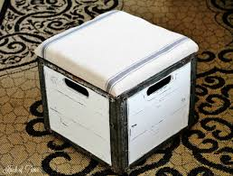 Vintage Storage Ottoman Milk Crate Storage Ottoman My Repurposed Life