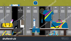 interior gym locker room badminton sport stock vector 534249718