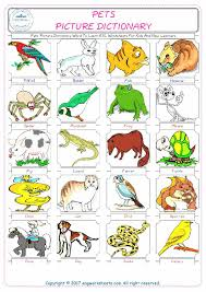 1 pets picture dictionary word to learn esl worksheets for kids