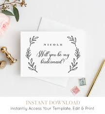bridesmaid invitations template will you be my bridesmaid card instant printable card