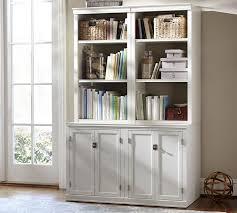 Bookcase Mahogany Logan Bookcase With Doors Mahogany Stain Pottery Barn