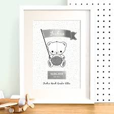 personalised teddy bear nursery print with silver foil by