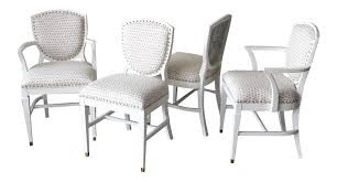vintage 1940s shield back dining chairs in new scalamandre fabric