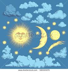 sun moon clouds design set stock photo photo vector