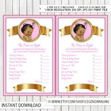 girls price is right baby shower game pink gold pearl ethnic baby