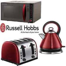 Red Kitchen Set - black u0026 red russell hobbs microwave kettle toaster kitchen set