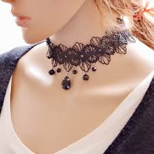 black neck from necklace images 2017 new hot sale women water drop pendant short lace necklace jpg