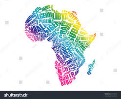 map with names of countries in africa countries map typography word cloud stock vector 521911675