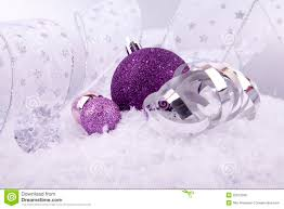 christmas decoration purple silver on snow royalty free stock