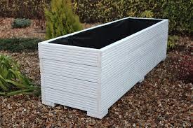 large wooden garden planter trough painted in cuprinol white 150cm