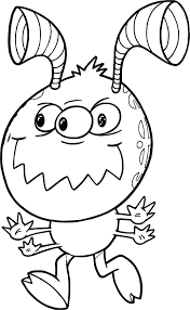 mean running monster cute alien coloring page wecoloringpage