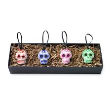 st frank day of the dead skull ornaments set of four