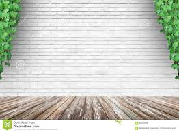 brick wall background with wood floor and creeping plant stock