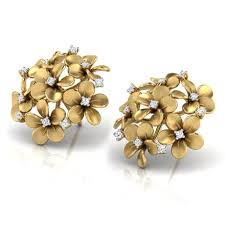plumeria cluster stud earrings jewellery india online caratlane