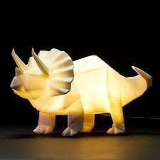 tiny toby the origami triceratops dinosaur lamp