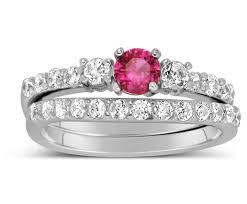 Pink Diamond Wedding Ring by 1 Carat Pink Sapphire And Diamond Wedding Ring Set In White Gold