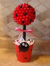 lady bug candy jelly bean topiary centerpiece by creativegoodz