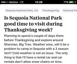 is sequoia national park time to visit during thanksgiving