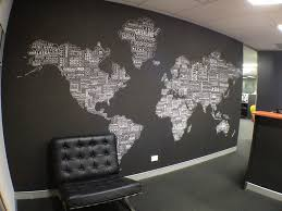 World Map Wall Decor For Modern fice Design With Black And White