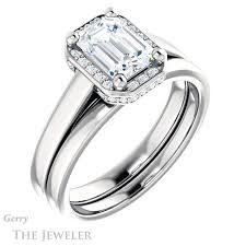 emerald cut wedding set emerald cut engagement ring setting gtj1284 emerald w gerry the