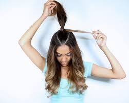 ariana grande inspired hair tutorial half up ponytail