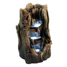 cypress log indoor outdoor water feature w led lights