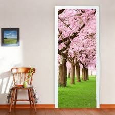 online get cheap cherry blossom wall decal aliexpress com oujing 3d cherry blossoms door wall mural photo wall sticker decal wall self adhesive decoration